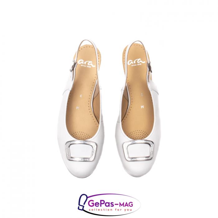 Pantofi piele decupati, AR35865, Alb 5