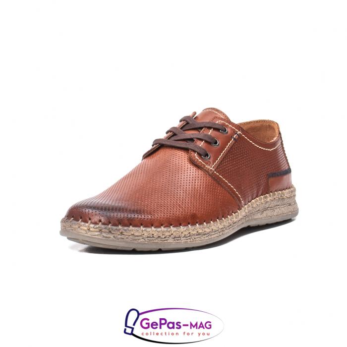 Pantofi vara barbati, piele naturala, 593 coniac [0]
