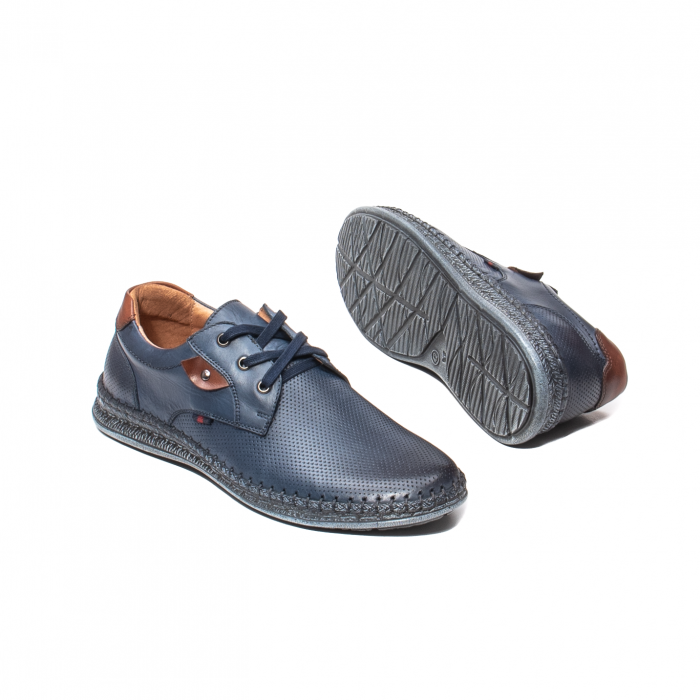 Pantofi vara barbati, piele naturala, 597 Bleumarin [3]