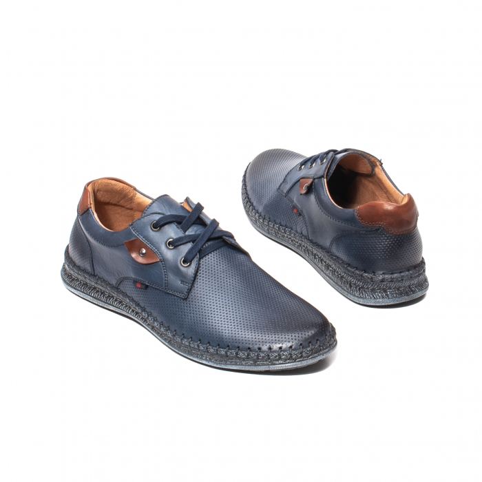 Pantofi vara barbati, piele naturala, 597 Bleumarin [2]