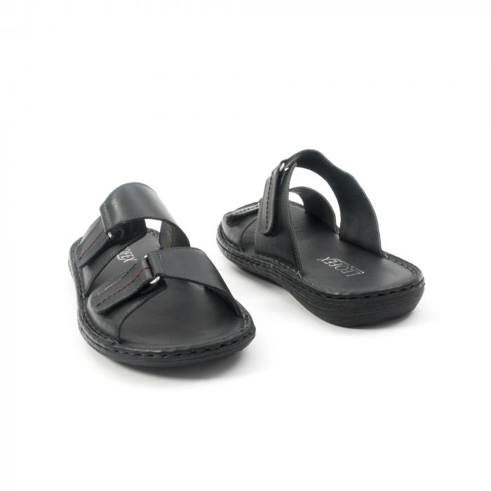 Papuci de  barbat din piele naturala ,culoare negru LEOFEX  531 2