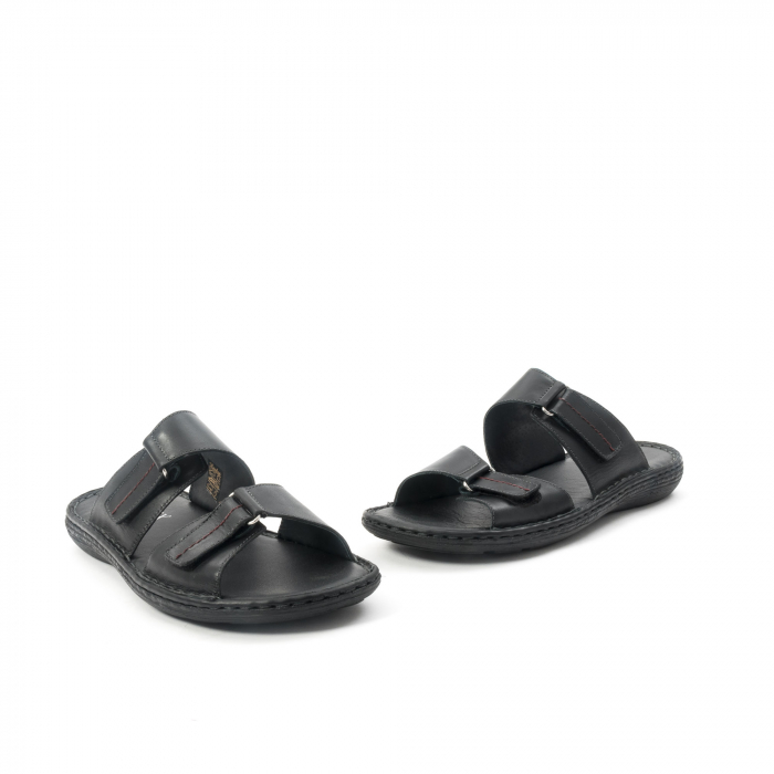 Papuci de  barbat din piele naturala ,culoare negru LEOFEX  531 1