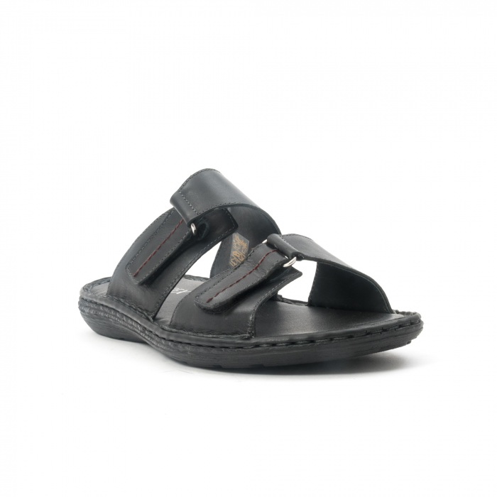 Papuci de  barbat din piele naturala ,culoare negru LEOFEX  531 0