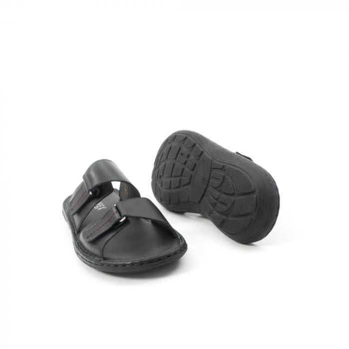 Papuci de  barbat din piele naturala ,culoare negru LEOFEX  531 3
