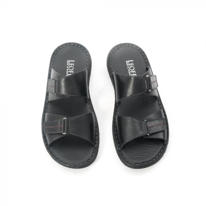 Papuci de  barbat din piele naturala ,culoare negru LEOFEX  531 5