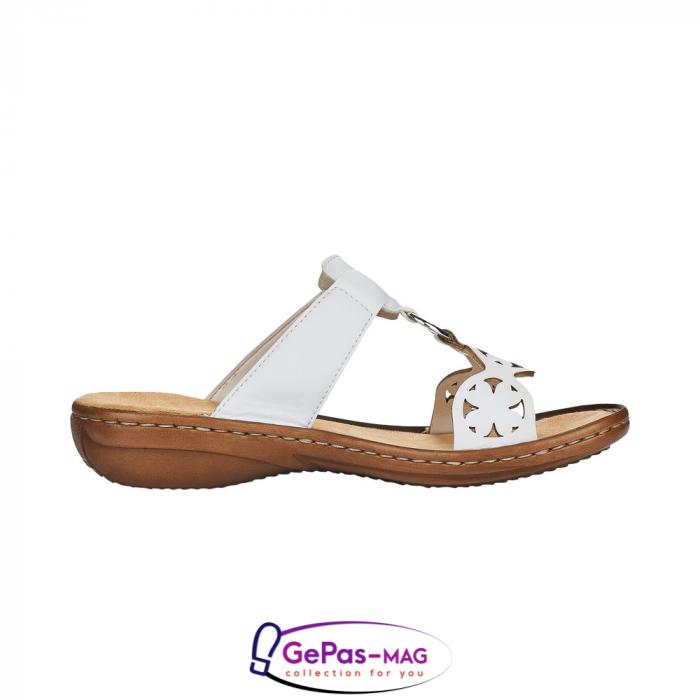 Papuci dama, piele ecologica, 60827-80 alb 2