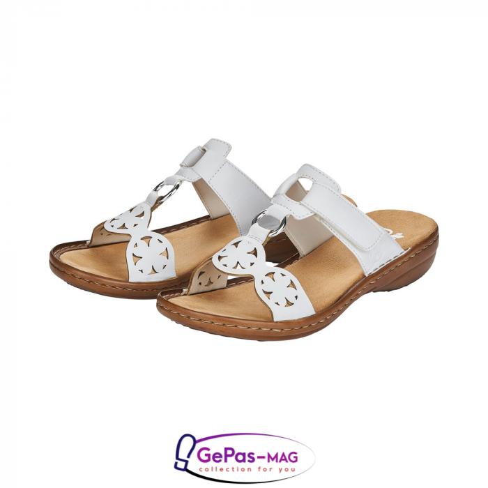 Papuci dama, piele ecologica, 60827-80 alb 5
