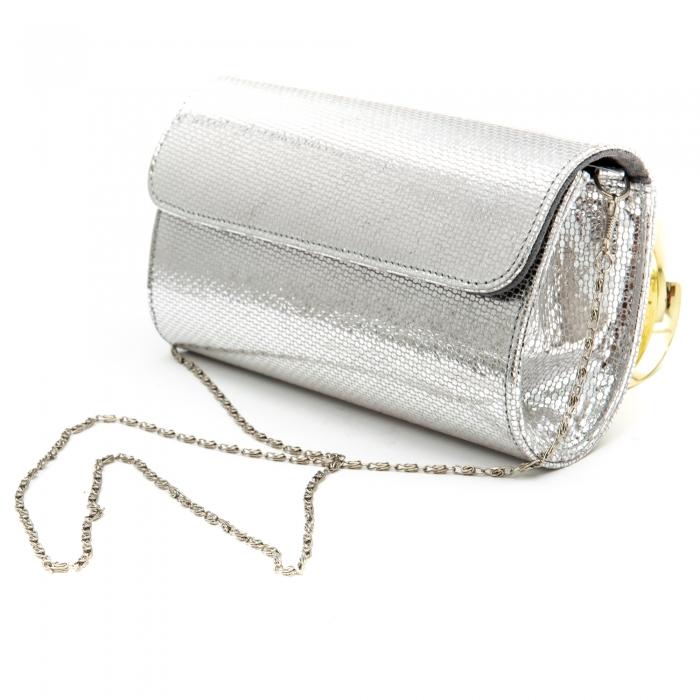 Plic butoias din piele argintiu - SOLZI 1