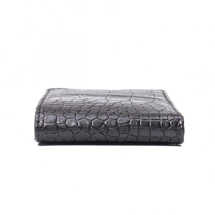 Portofel barbat piele naturala, negru croco 2