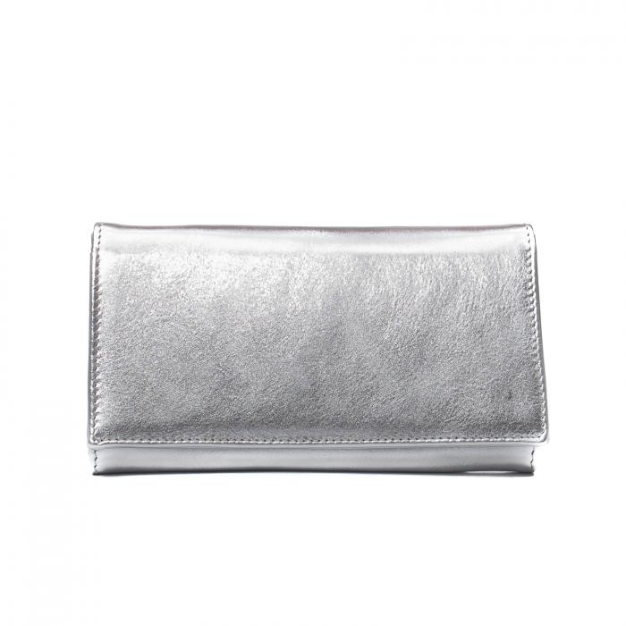 Portofel dama Elena, piele naturala, argintiu 0