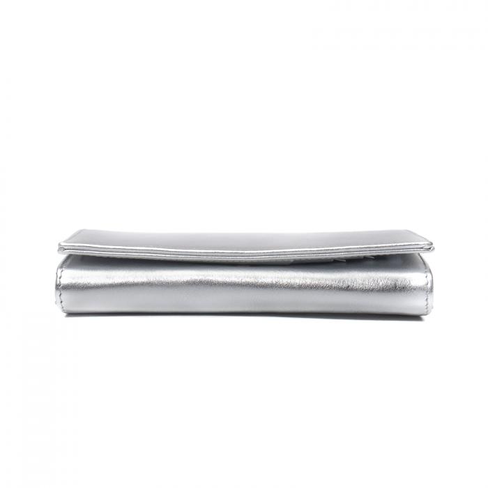 Portofel dama Elena, piele naturala, argintiu 1