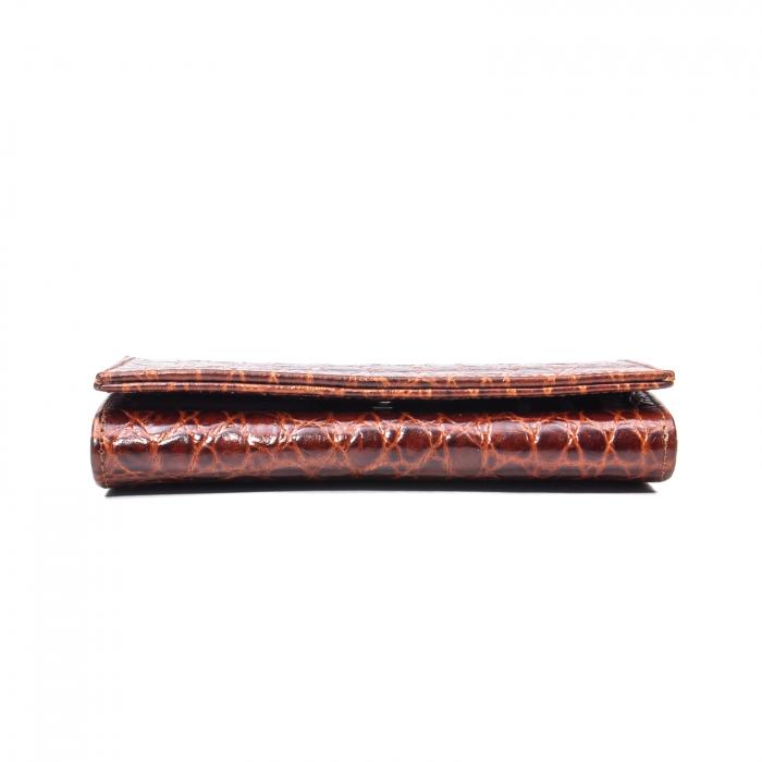 Portofel dama Elena, piele naturala, coniac croco [1]