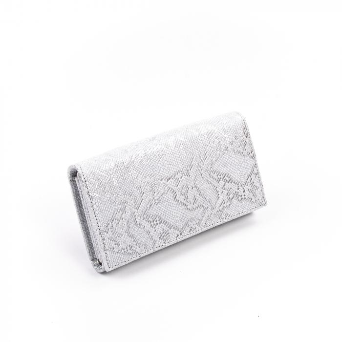 Portofel dama piele naturala texturata,alb-argintiu 0