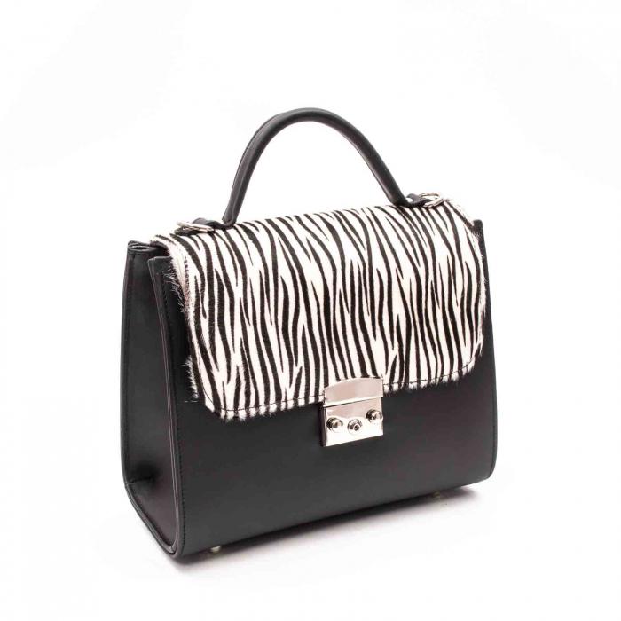 Poseta dama din piele naturala Zenovia alb-negru/zebra 0