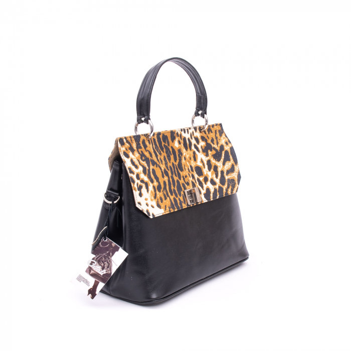 Poseta din piele naturala Catali 280 negru-animal print. 0
