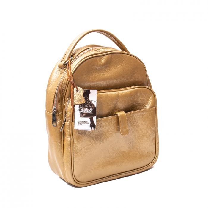 Rucsac din piele naturala Catali, model Oana 302, bronz 0