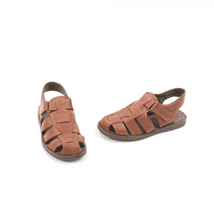 Sandale barbati piele naturala, Caribu QP218, maro 1
