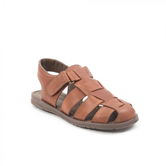 Sandale barbati piele naturala, Caribu QP218, maro 0