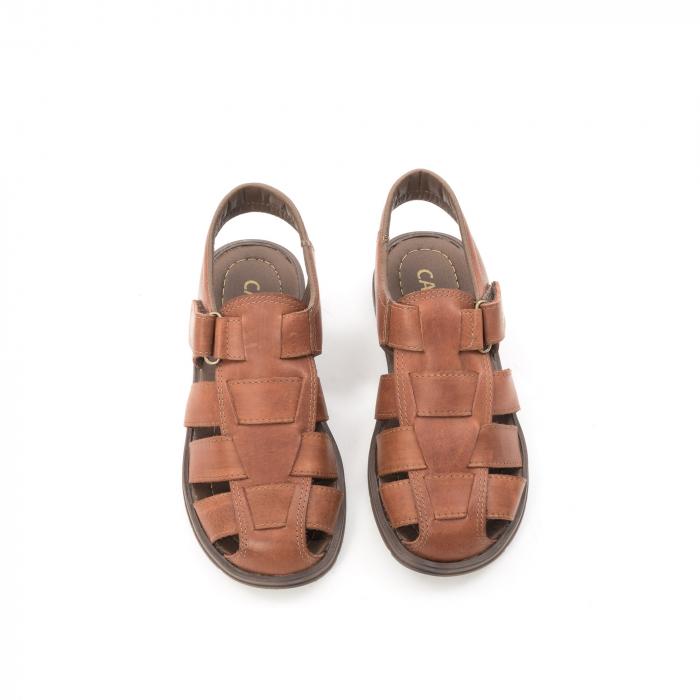 Sandale barbati piele naturala, Caribu QP218, maro 5