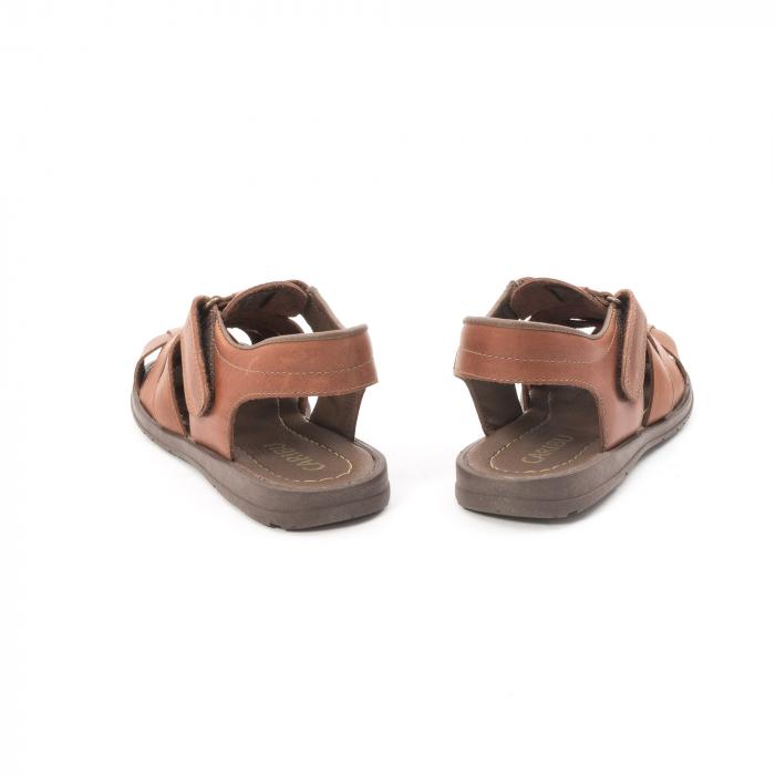 Sandale barbati piele naturala, Caribu QP218, maro 6