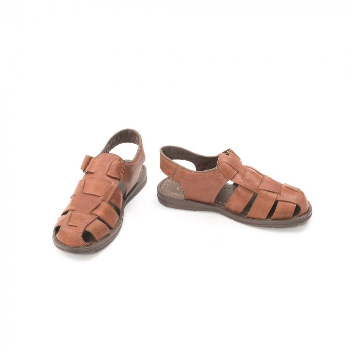 Sandale barbati piele naturala, Caribu QP218, maro 4