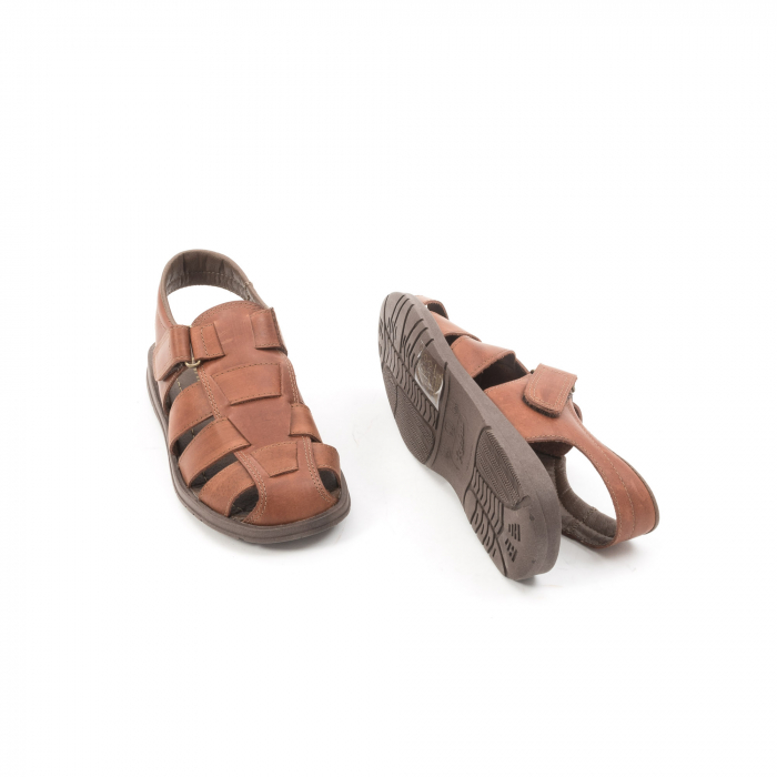 Sandale barbati piele naturala, Caribu QP218, maro 3