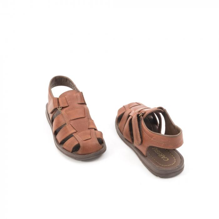 Sandale barbati piele naturala, Caribu QP218, maro 2
