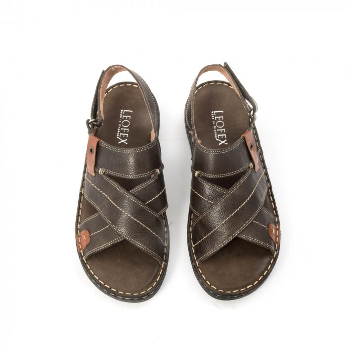 Sandale  barbat din piele naturala ,culoare maro,Leofex 799 5