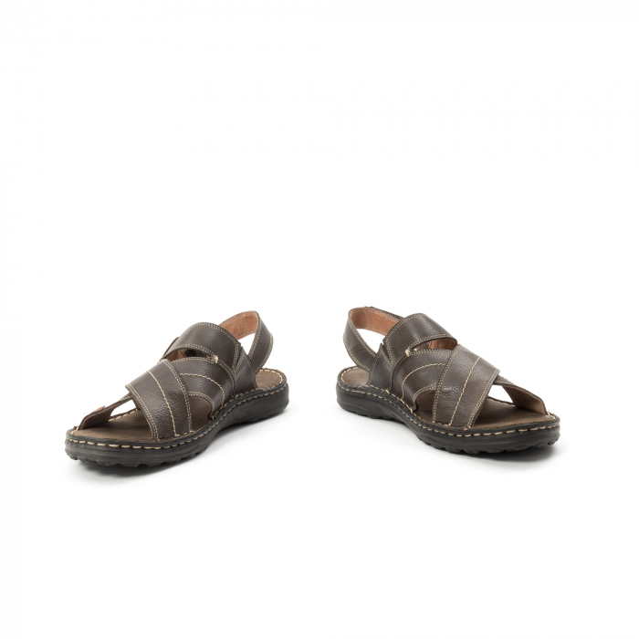 Sandale  barbat din piele naturala ,culoare maro,Leofex 799 4