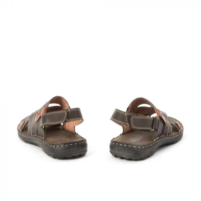Sandale  barbat din piele naturala ,culoare maro,Leofex 799 6