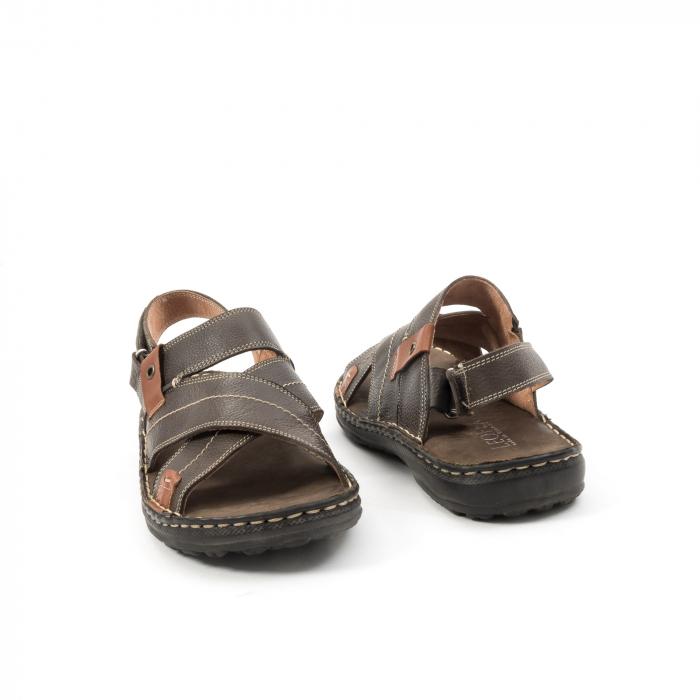 Sandale  barbat din piele naturala ,culoare maro,Leofex 799 2