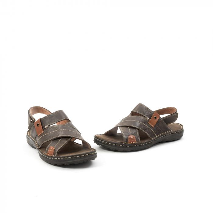 Sandale  barbat din piele naturala ,culoare maro,Leofex 799 1