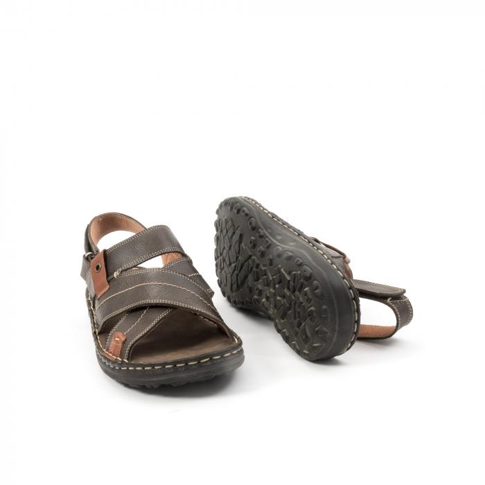 Sandale  barbat din piele naturala ,culoare maro,Leofex 799 3