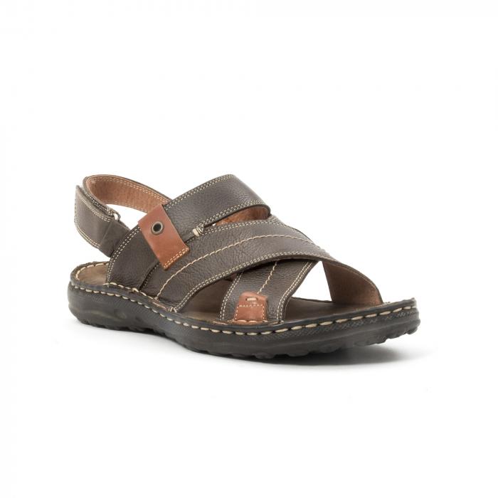 Sandale  barbat din piele naturala ,culoare maro,Leofex 799 0