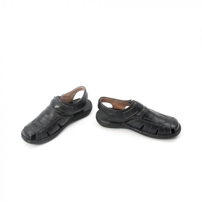 Sandale  barbat  din piele naturala ,culoare negru ,Leofex 929 . 4