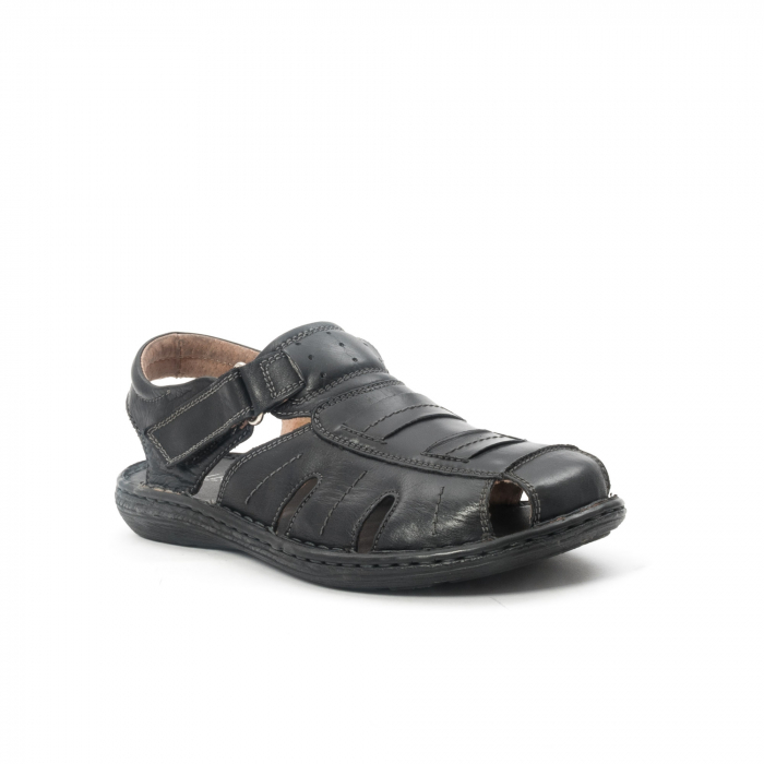 Sandale  barbat  din piele naturala ,culoare negru ,Leofex 929 . 0