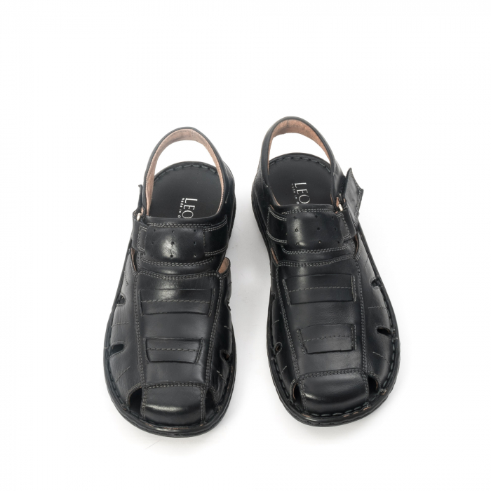 Sandale  barbat  din piele naturala ,culoare negru ,Leofex 929 . 5