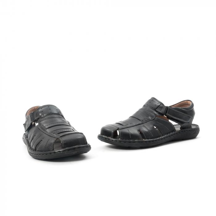 Sandale  barbat  din piele naturala ,culoare negru ,Leofex 929 . 1