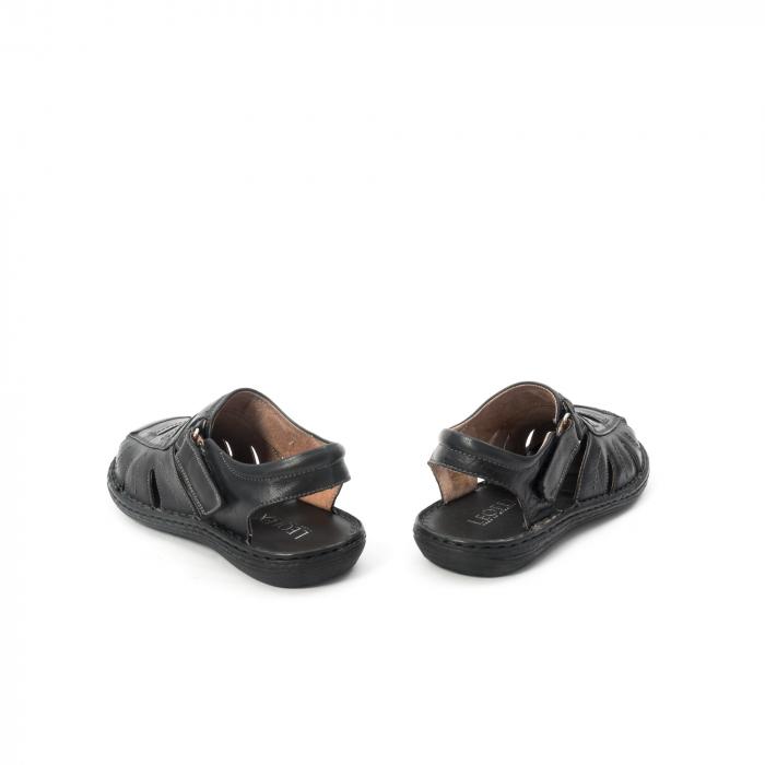 Sandale  barbat  din piele naturala ,culoare negru ,Leofex 929 . 6