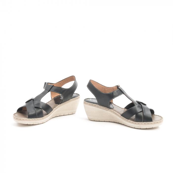 Sandale dama casual din piele naturala ,Leofex 214 negru 4