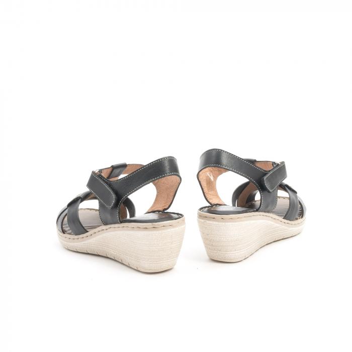 Sandale dama casual din piele naturala ,Leofex 214 negru 6