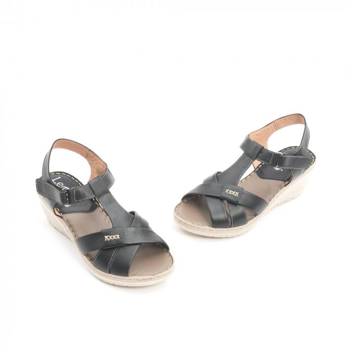 Sandale dama casual din piele naturala ,Leofex 214 negru 1