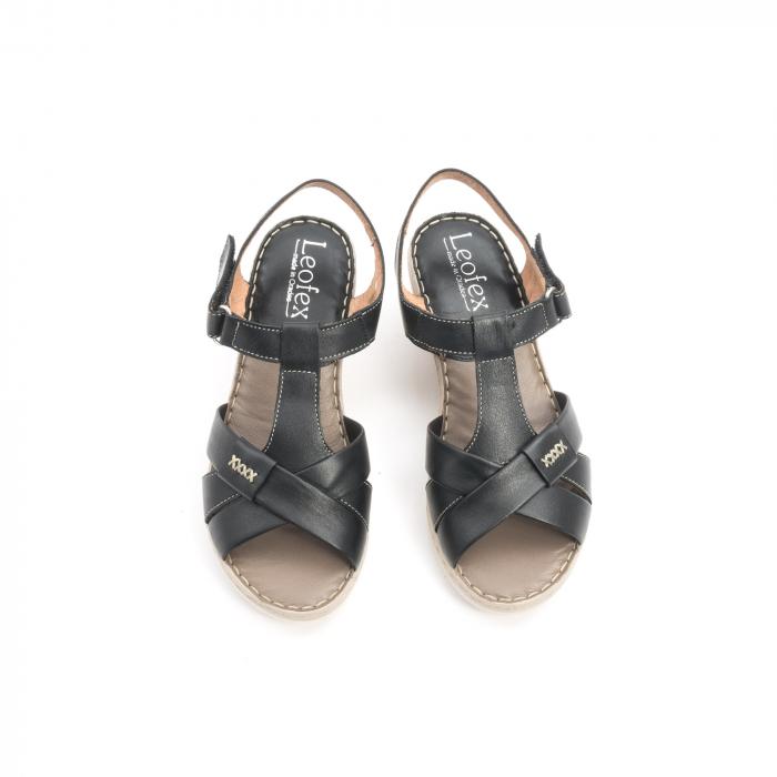 Sandale dama casual din piele naturala ,Leofex 214 negru 5