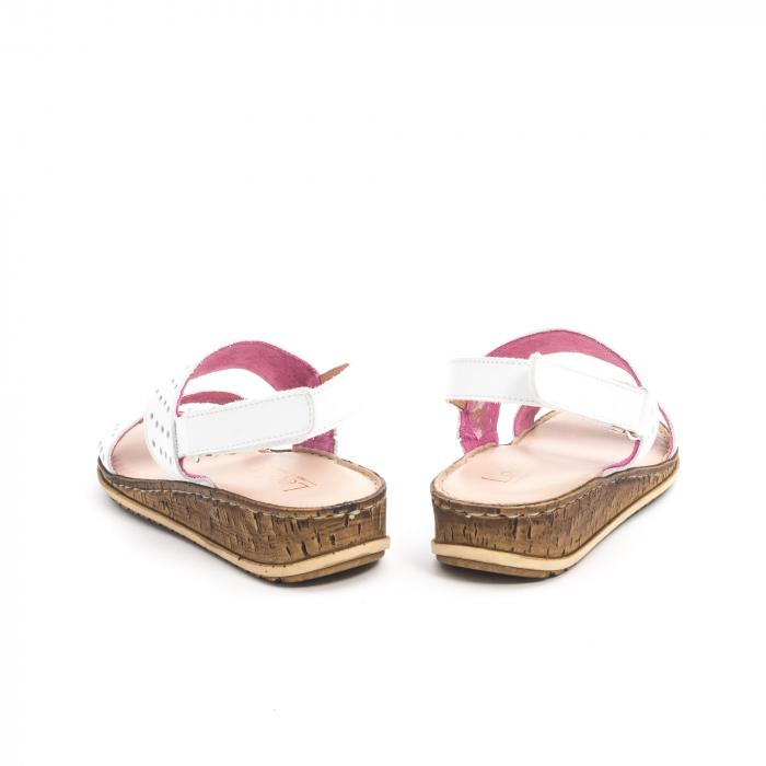 Sandale dama casual Leofex 212, piele naturala, alb 6