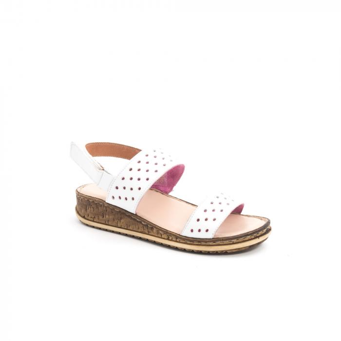 Sandale dama casual Leofex 212, piele naturala, alb 0