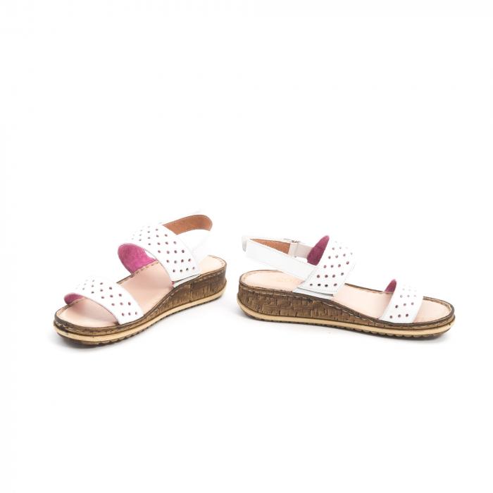 Sandale dama casual Leofex 212, piele naturala, alb 4
