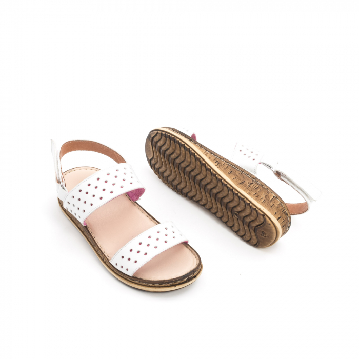 Sandale dama casual Leofex 212, piele naturala, alb 3