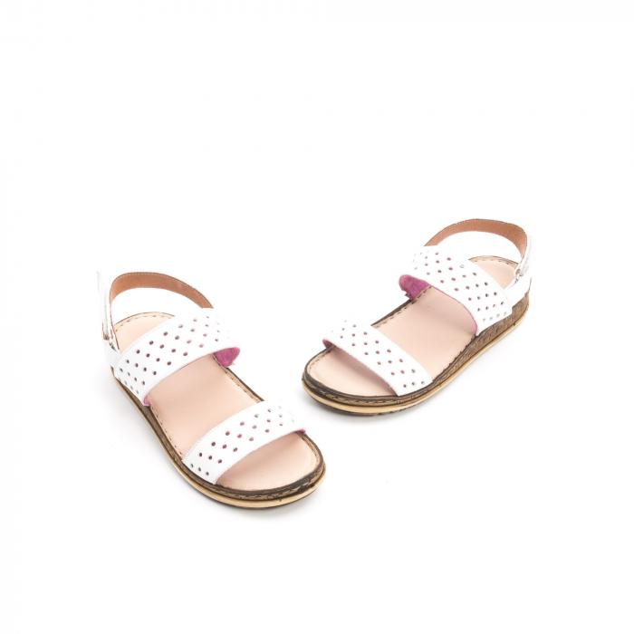 Sandale dama casual Leofex 212, piele naturala, alb 1
