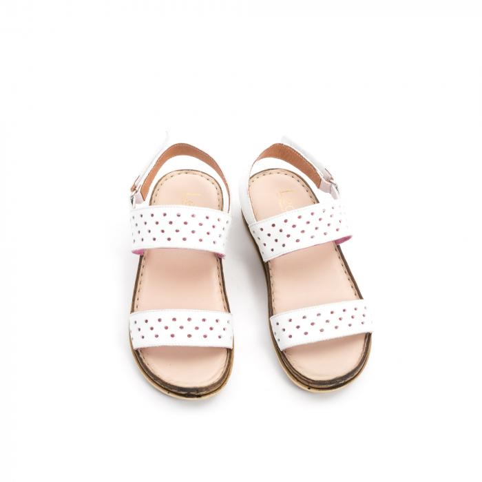 Sandale dama casual Leofex 212, piele naturala, alb 5