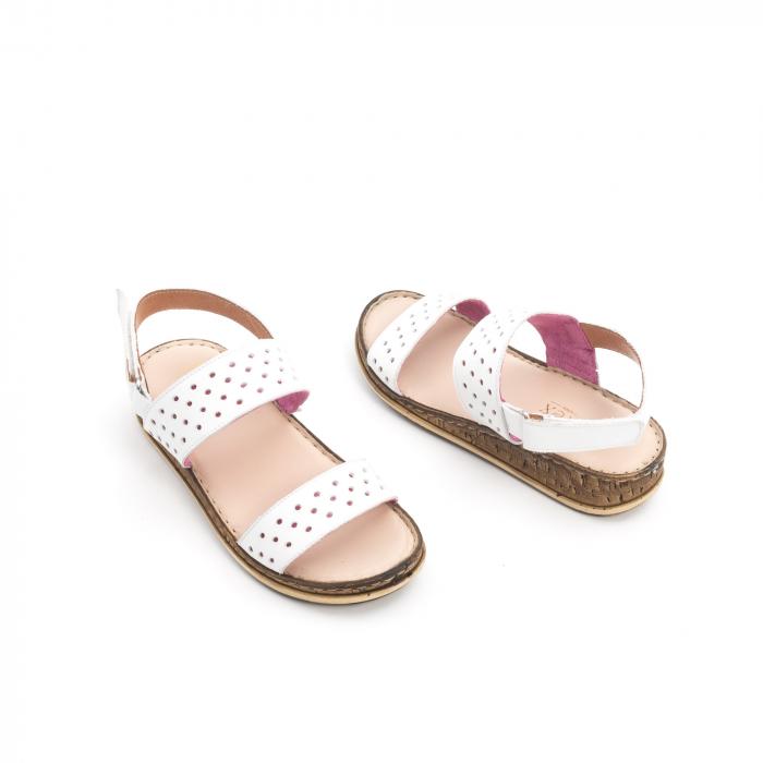 Sandale dama casual Leofex 212, piele naturala, alb 2